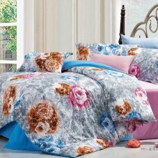 阿思家 纯棉斜纹四件套 花朵天蓝色全棉床单被套4件套