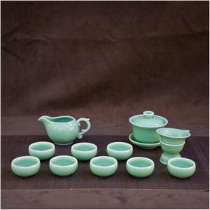 12头盖碗 龙泉青瓷茶具套装陶瓷功夫茶具哥弟窑开片8人用功夫茶具套装