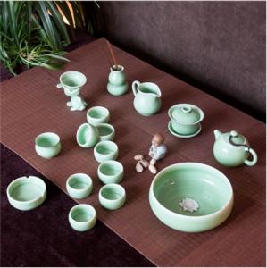 18头圆珠 龙泉青瓷 陶瓷西施壶茶具18头茶具套装公道杯茶漏网杯子